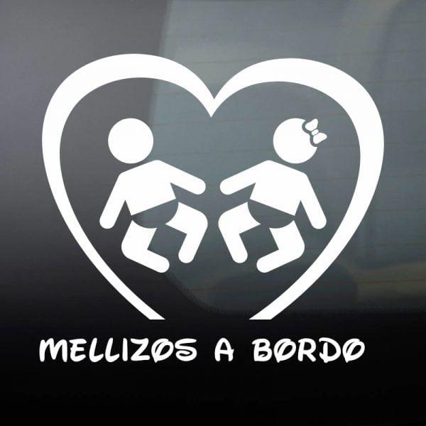 Pegatina Bebé a Bordo - Mellizos chico y chica en blanco