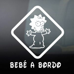"""Pegatina de Vinilo  """"Bebé a bordo – Simpson #2"""""""