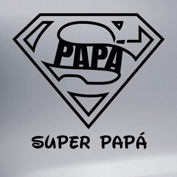 """Pegatina Bebé a Bordo """"Super Papá"""" en negro"""