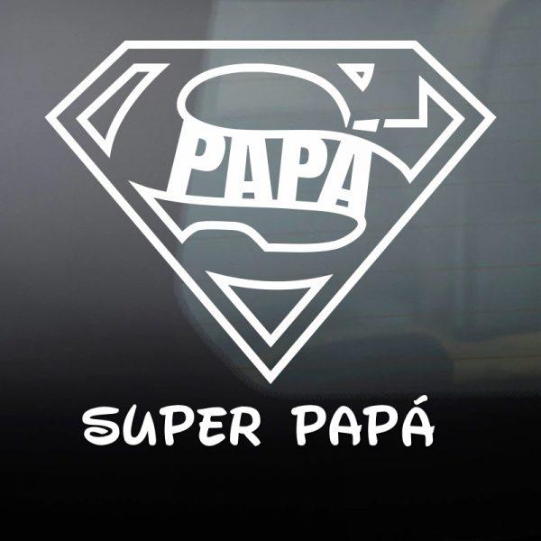 """Pegatina Bebé a Bordo """"Super Papá"""" en blanco"""