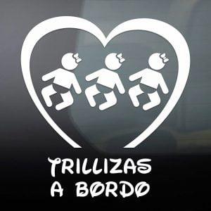 "Pegatina de Vinilo  ""Bebé a bordo – Trillizas"""