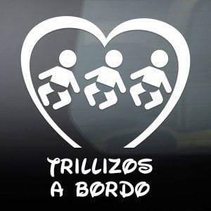 "Pegatina de Vinilo  ""Bebé a bordo – Trillizos Chicos"""
