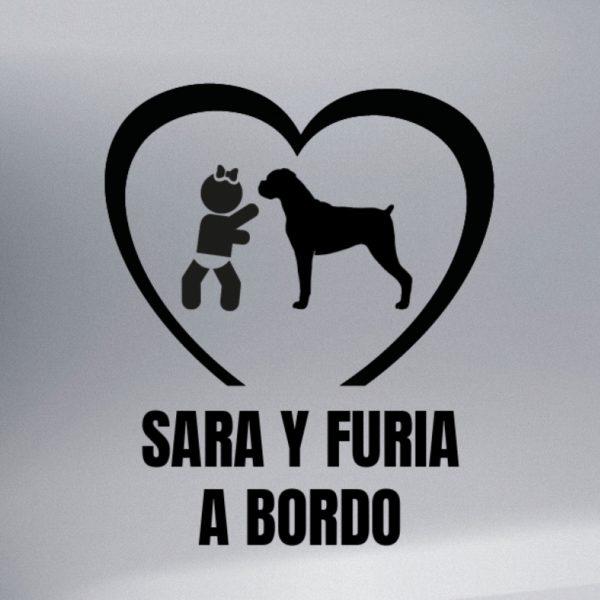 """Pegatina Bebé a Bordo Chica y Perro """"Boxer"""" en negro"""