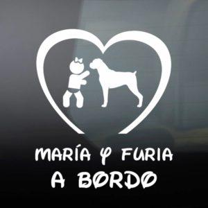 """Pegatina de Vinilo Bebé a Bordo Chica y Perro – """"Boxer"""""""
