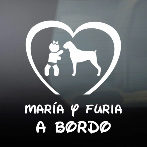 """Pegatina Bebé a Bordo Chica y Perro """"Boxer"""" en blanco"""