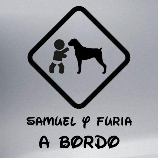 """Pegatina Bebé a Bordo Chico y Perro """"Boxer"""" en negro"""