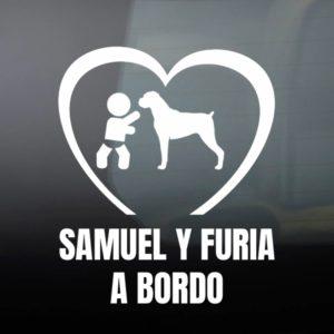 """Pegatina de Vinilo Bebé a Bordo Chico y Perro – """"Boxer"""""""