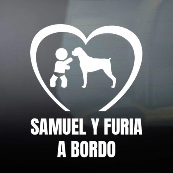"""Pegatina Bebé a Bordo Chico y Perro """"Boxer"""" en blanco"""