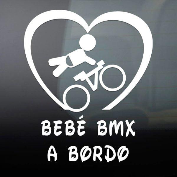 Pegatina Bebé a Bordo BMX en blanco