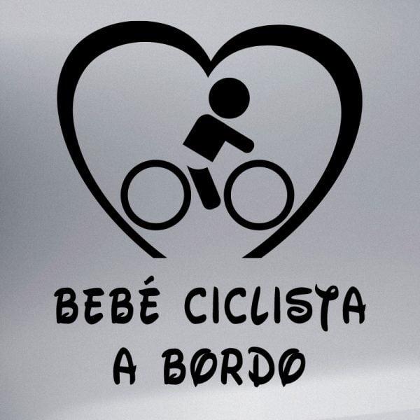 Pegatina Bebé a Bordo Ciclista en negro