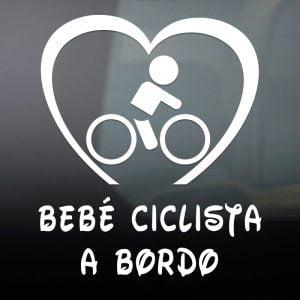 """Pegatina de Vinilo  """"Bebé a bordo – Ciclista Chico"""