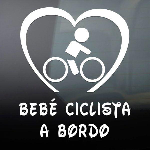 Pegatina Bebé a Bordo Ciclista en blanco