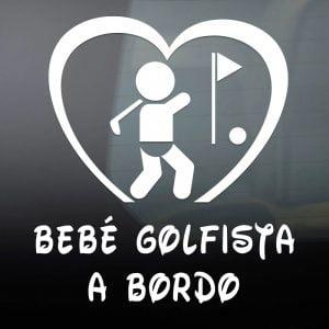 """Pegatina de Vinilo  """"Bebé a bordo – Golfista"""""""