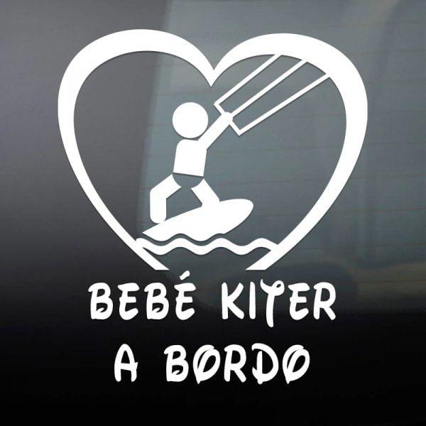 Pegatina Bebé a Bordo Kiter en blanco