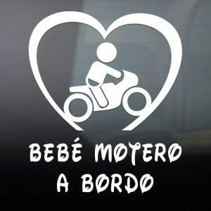 """Pegatina de Vinilo  """"Bebé a bordo – Motero"""""""