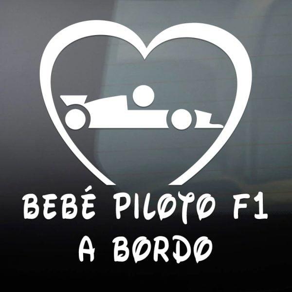 Pegatina Bebé a Bordo Piloto Formula 1 en blanco