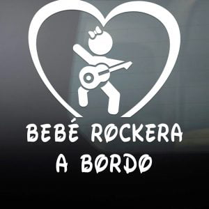 Pegatina de Vinilo  «Bebé a bordo – Rockera»