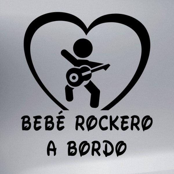 Pegatina Bebé a Bordo - Rockero en negro
