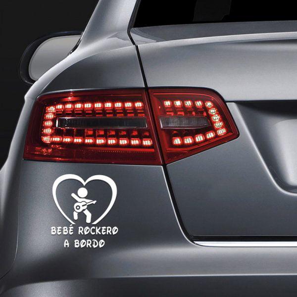Pegatina Bebé a Bordo - Rockero en coche