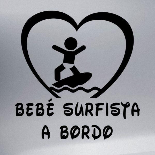 Pegatina Bebé a Bordo - Surfista en negro
