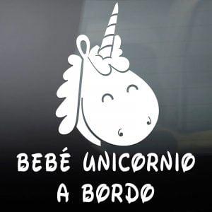 "Pegatina de Vinilo  ""Bebé a bordo – Unicornio"""