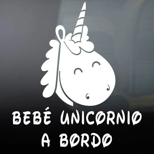 Pegatina Bebé a Bordo - Unicornio en blanco