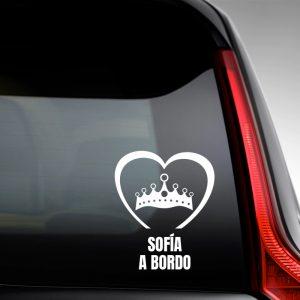 """Pegatina de Vinilo  """"Bebé a bordo – Corona de Princesa #2"""""""