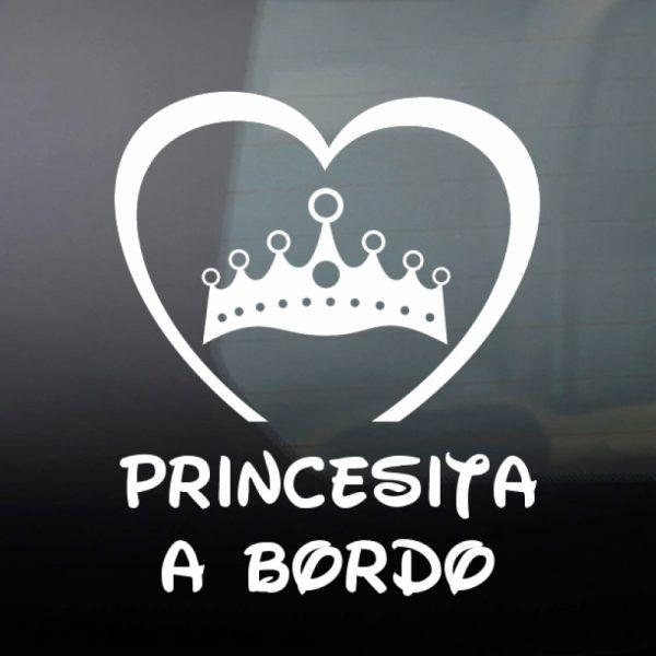 Pegatina Bebé a Bordo Corona de Princesa #2 en blanco