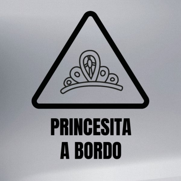 Pegatina Bebé a Bordo Corona de Princesa en negro