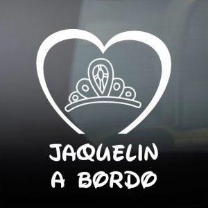 """Pegatina de Vinilo  """"Bebé a bordo – Corona de Princesa"""""""
