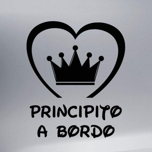 Pegatina Bebé a Bordo Corona de Principe #2 en negro