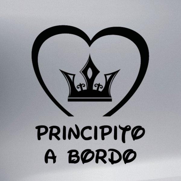 Pegatina Bebé a Bordo Corona de Principe #3 en negro
