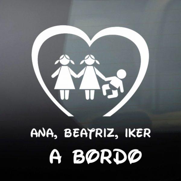 Pegatina Bebé a Bordo - Dos Hermanas e un hermano en negro