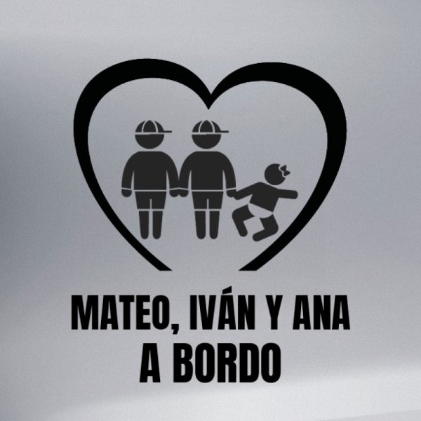 Pegatina Bebé a Bordo - Dos Hermanos Mayores con una Hermanas bebé en negro