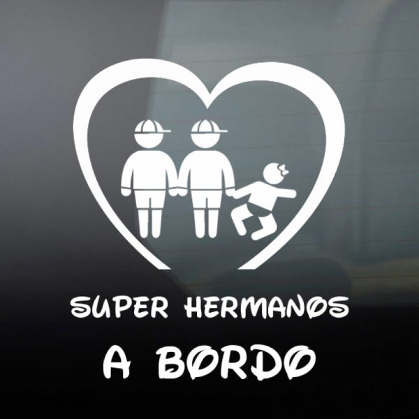 Pegatina Bebé a Bordo - Dos Hermanos Mayores con una Hermanas bebé en blanco