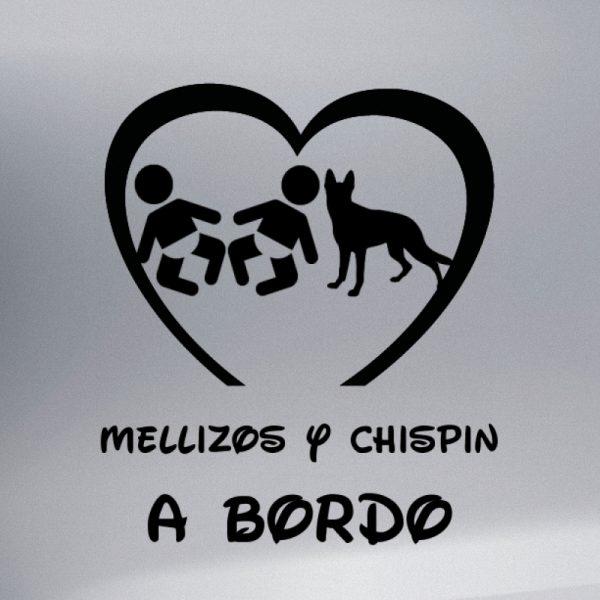 Pegatina Bebé a Bordo - Mellizos con perro Samba en negro