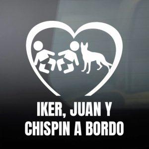 Pegatina de Vinilo  «Bebé a bordo – Mellizos con perro Samba»