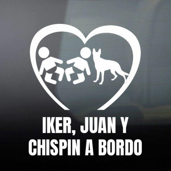 Pegatina Bebé a Bordo - Mellizos con perro Samba en blanco