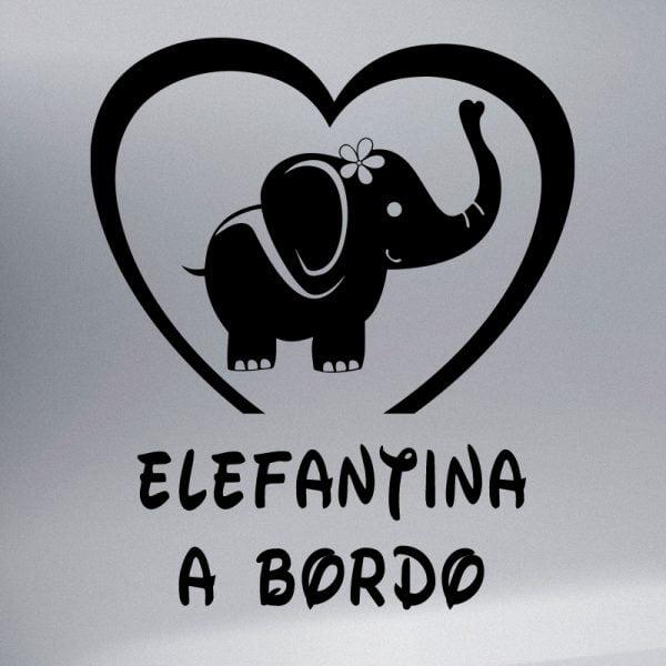 Pegatina Bebé a Bordo - Elefanta en negro