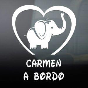 """Pegatina de Vinilo  """"Bebé a bordo – Bebé Elefanta"""""""