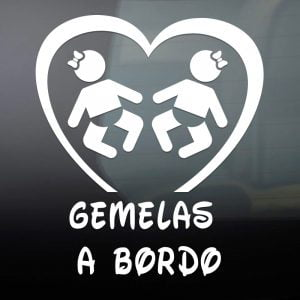 Pegatina de Vinilo  «Bebé a bordo – Gemelas»