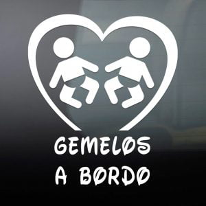 "Pegatina de Vinilo  ""Bebé a bordo – Gemelos"""