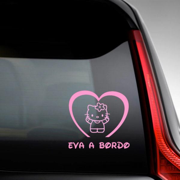 Pegatina Bebé a Bordo - Hello Baby en la luna del coche