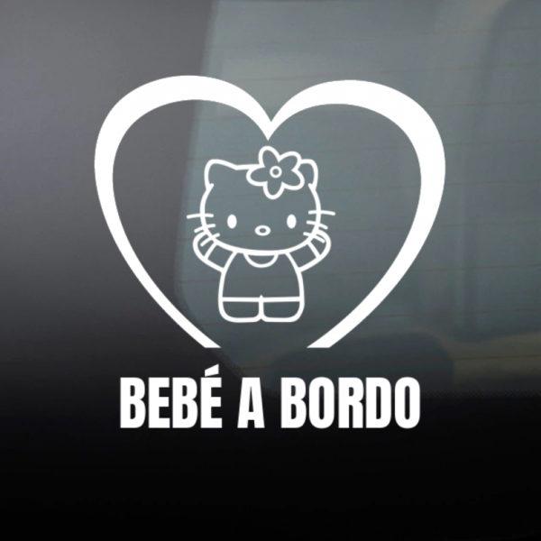 Pegatina Bebé a Bordo - Hello Baby en blanco