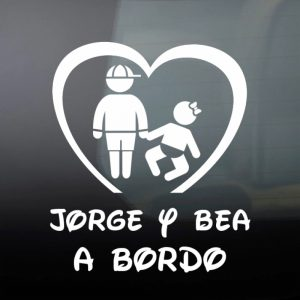 "Pegatina de Vinilo  ""Bebé a bordo – Hermano Mayor y Hermana Bebé"""