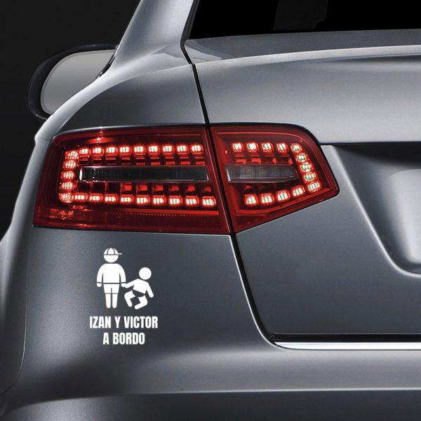 Pegatina Bebé a Bordo - Dos Hermanos en coche