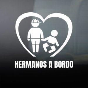 Pegatina de Vinilo  «Bebé a bordo – Hermanos»