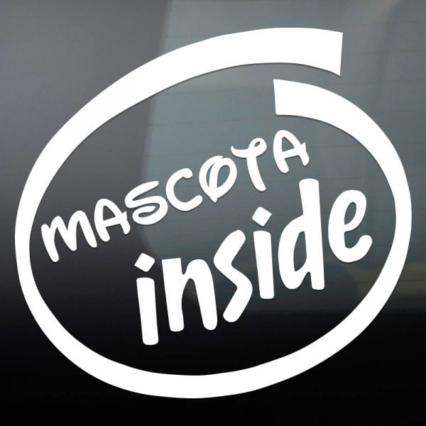 "Pegatina ""Mascota Inside"" en blanco"