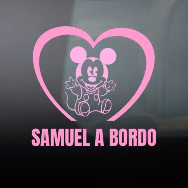 Pegatina Bebé a Bordo - Mouse Baby en rosa