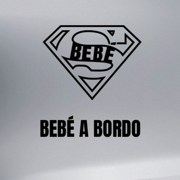 """Pegatina Bebé a Bordo """"Super Bebé"""" en negro"""